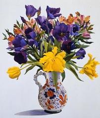 Картина раскраска по номерам 30x40 Букет желных и фиолетовых цветов в расписной вазе