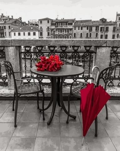 Алмазная Мозаика 40x50 Красные розы и зонт на балконе