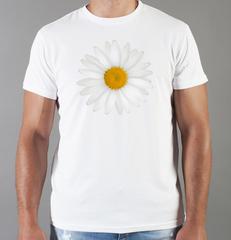 Футболка с принтом Цветы (Ромашки) белая 003