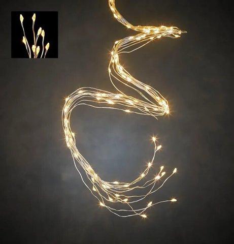 Гирлянда хвост на серебряном проводе теплый белый свет, для наружного и внутреннего использования