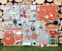 Бизиборд стандарт 50х65 см с ксилофоном Оранжевый универсальный