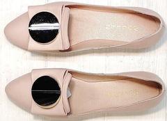 Летние туфли балетки с острым носом Wollen G192-878-322 Light Pink.