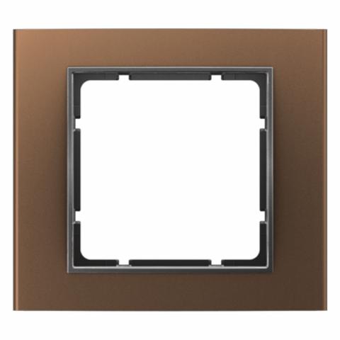 Рамка на 1 пост алюминий. Цвет Коричневый/Антрацит. Berker (Беркер). B.3. 10113001