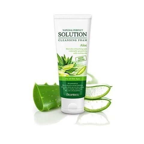 Deoproce Natural Perfect Solution Cleansing Foam Aloe пенка для умывания с алое