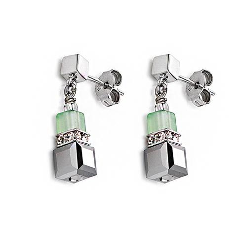 Серьги Coeur de Lion 4766/21-0522 цвет зелёный, серый