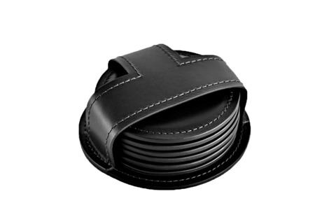Набор костеров (6 шт) PREMIUM из кожи  Full Grain Black/Cuoietto черный