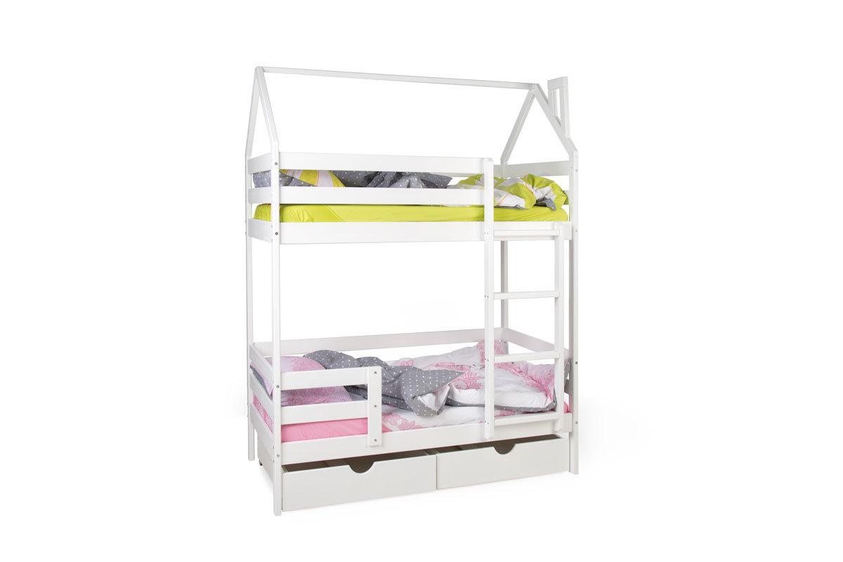 Двухъярусная кровать-домик Scandi Barn с бортиком (лестница справа)