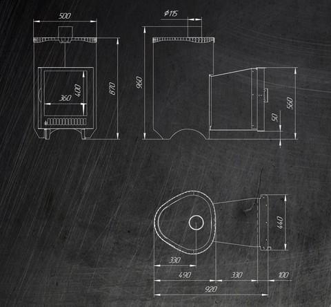 Дровяная банная печь Ферингер Оптима (Кожух ДУБ) паровая с закрытой каменкой