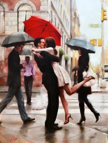 Алмазная Мозаика 40x50 Романтическая встреча под зонтом