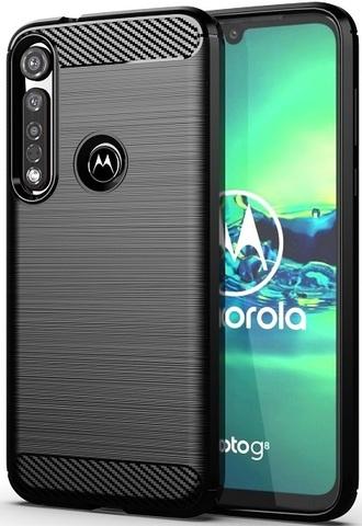 Чехол для Motorola Moto G8 plus цвет Black (черный), серия Carbon от Caseport