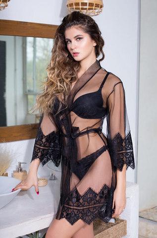 Короткий эротический халат из сетки с кружевом