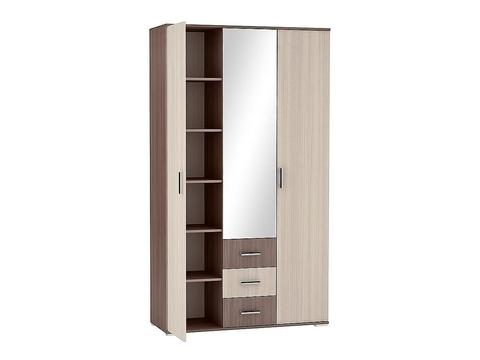 Шкаф трехстворчатый Рошель ШК-813 с ящиками Браво Мебель ясень шимо темный, светлый