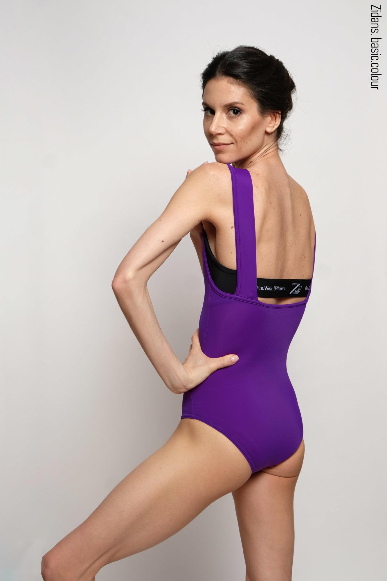 Комплект: купальник Квадрат фиолетовый  + Топ на лямках
