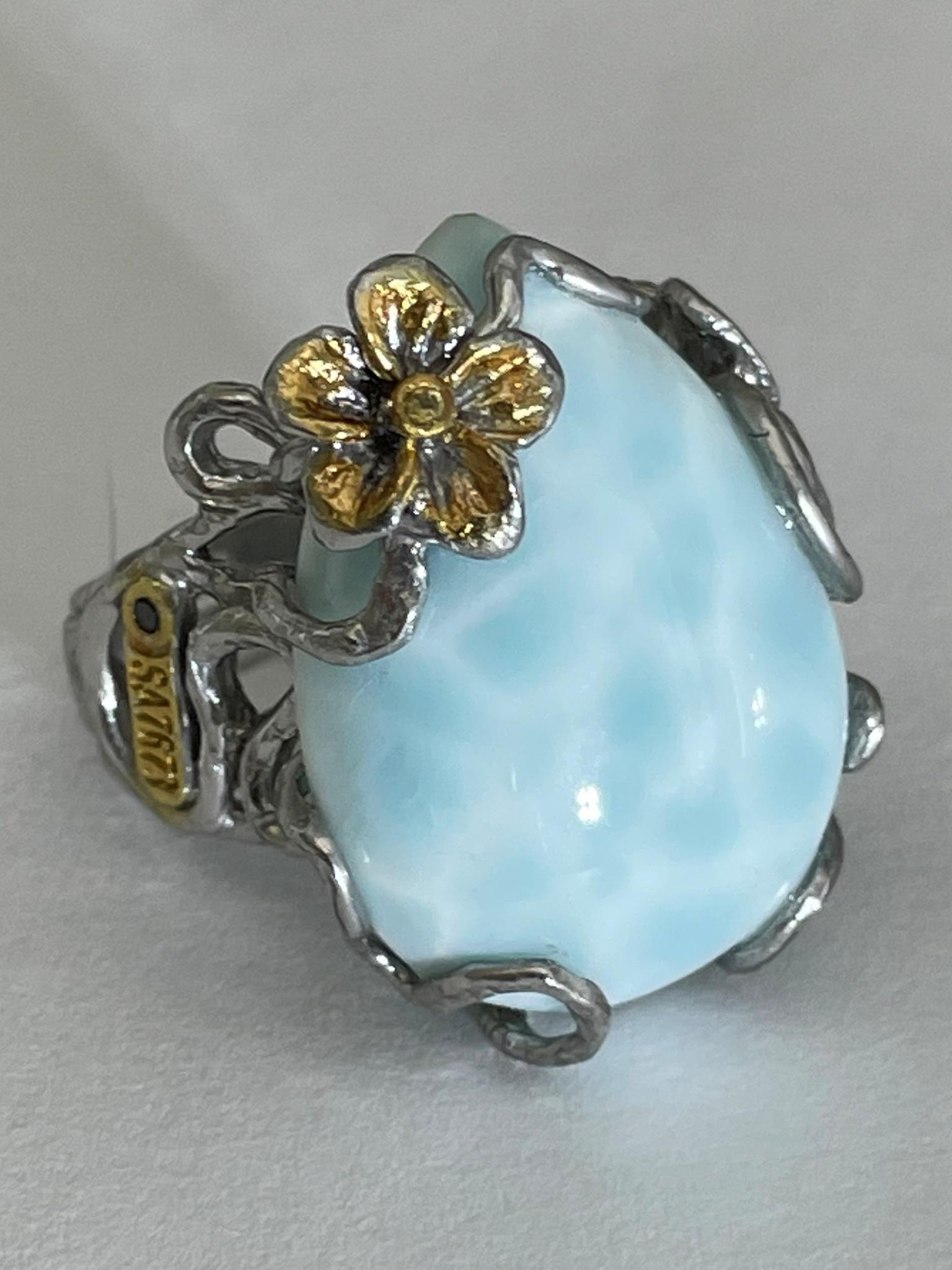 Ларимар  (кольцо из серебра)