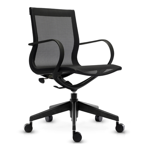 Кресло Mercury LB черная сетка, черный пластик