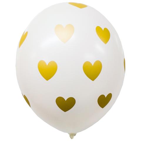 Воздушный шар с Золотыми Сердцами (Белый)