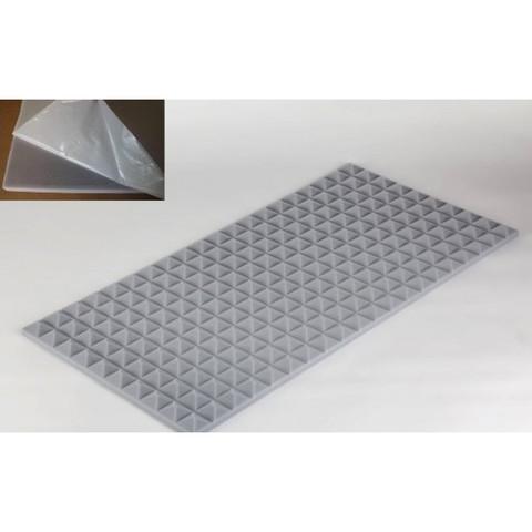 негорючая  акустическая панель  Пирамида ECHOTON FIREPROOF 100x50x3cm  серый  с адгезивным  слоем