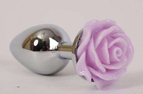 Серебристая анальная пробка с сиреневой розой - 9,5 см.