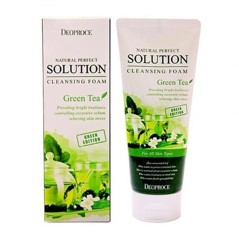 Deoproce Natural Solution Cleansing Foam Greentea пенка для умывания с экстрактом зеленого чая