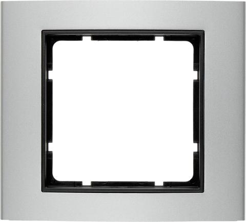 Рамка на 1 пост алюминий. Цвет Алюминий/Антрацит. Berker (Беркер). B.3. 10113004