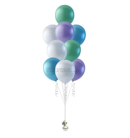 Фонтан из разноцветных перламутровых шаров пастельных оттенков