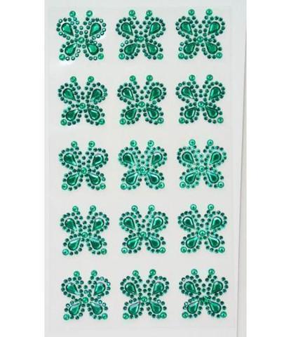 Стразы самоклеющиеся бабочки зеленые 15 шт