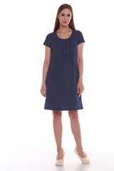 Мамаландия. Сорочка для беременных и кормящих с кнопками короткий рукав, темно-синий/горох вид 1
