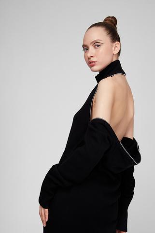 Женское черное шерстяное платье M-TABATHA Diesel