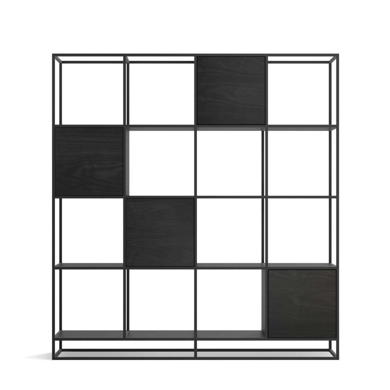 Стеллаж Intelligent design Kvadra 4 секции, черный - вид 3