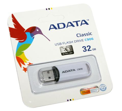 Флеш-память USB 32 Gb A-DATA Classic C906, Белый