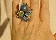 Орхидея (кольцо + серьги из серебра)