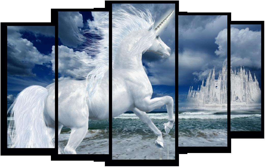 """Животные Модульная картина """"Белый единорог"""" М245.png"""
