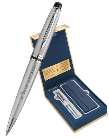 Набор с гравировкой: Чехол и Шариковая ручка Waterman Expert Essential, St. Steel CT123