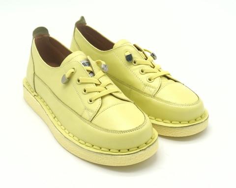 Желтые кожаные полуботинки на платформе