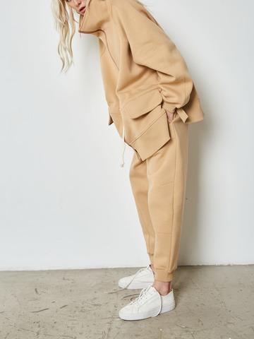 Куртка с кулисой из футера бежевый