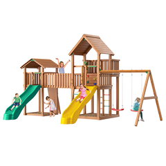 Детская площадка Jungle Palace + Jungle Cottage + жесткий мост + Swing + Rock