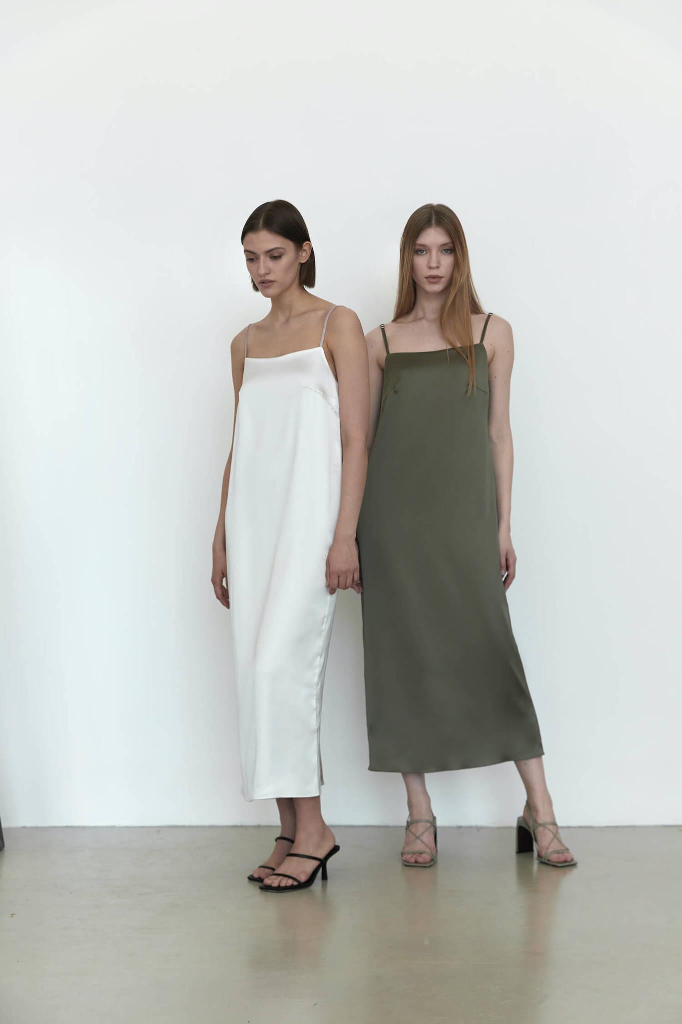 Двустороннее платье-комбинация, хакки/мокко