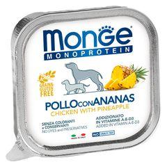 Консервы для собак, Monge Dog Monoprotein Fruits, паштет из курицы с ананасом