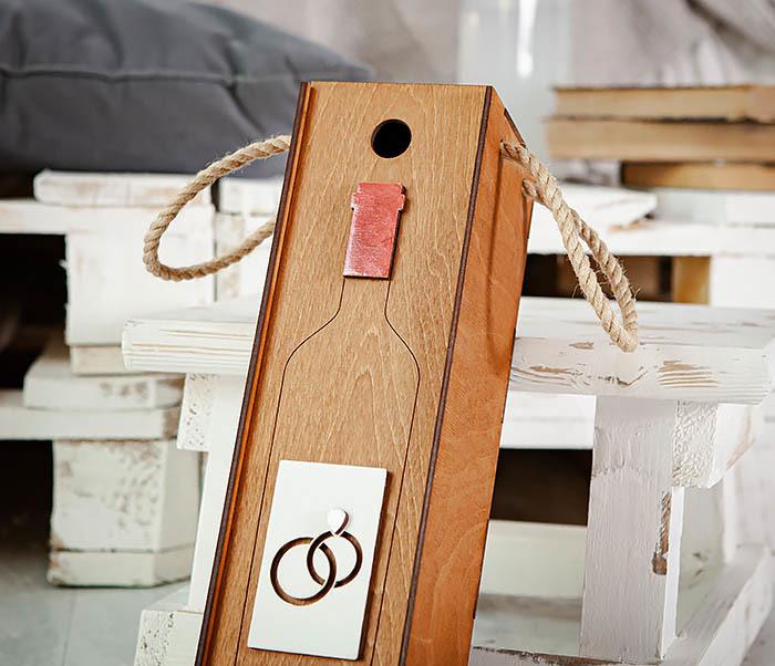 BOX260-2 Коробка для винной церемонии на свадьбу (33*10*10,5 см) фото 02