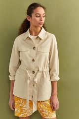 Куртка з льону в стилі мілітари