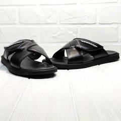 Мужские босоножки шлепки кожа Brionis 155LB-7286 Leather Black.