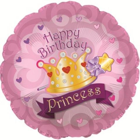 Шар круг С днем рождения, корона принцессы, 45 см