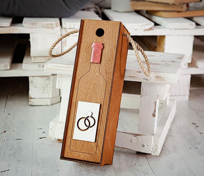 BOX260-2 Коробка для винной церемонии на свадьбу (33*10*10,5 см) фото 03