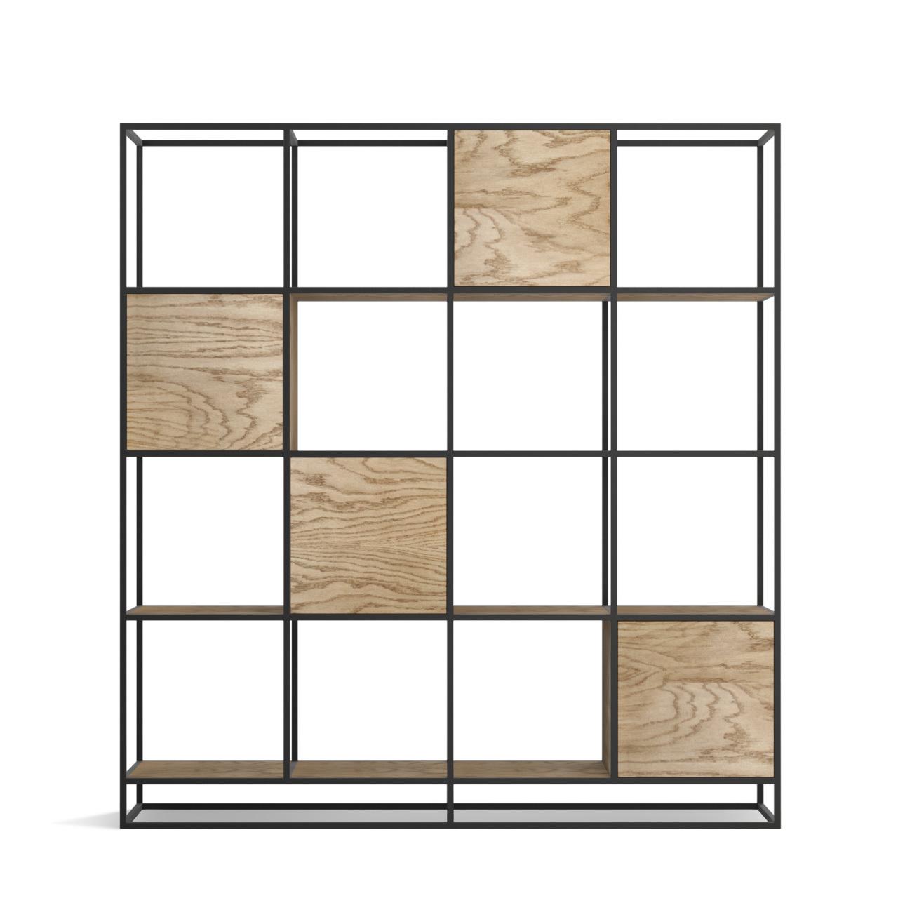 Стеллаж Intelligent design Kvadra 4 секции, черный - вид 5