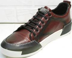 Короткие кеды кроссовки мужские демисезонные Luciano Bellini C6401 MC Bordo.