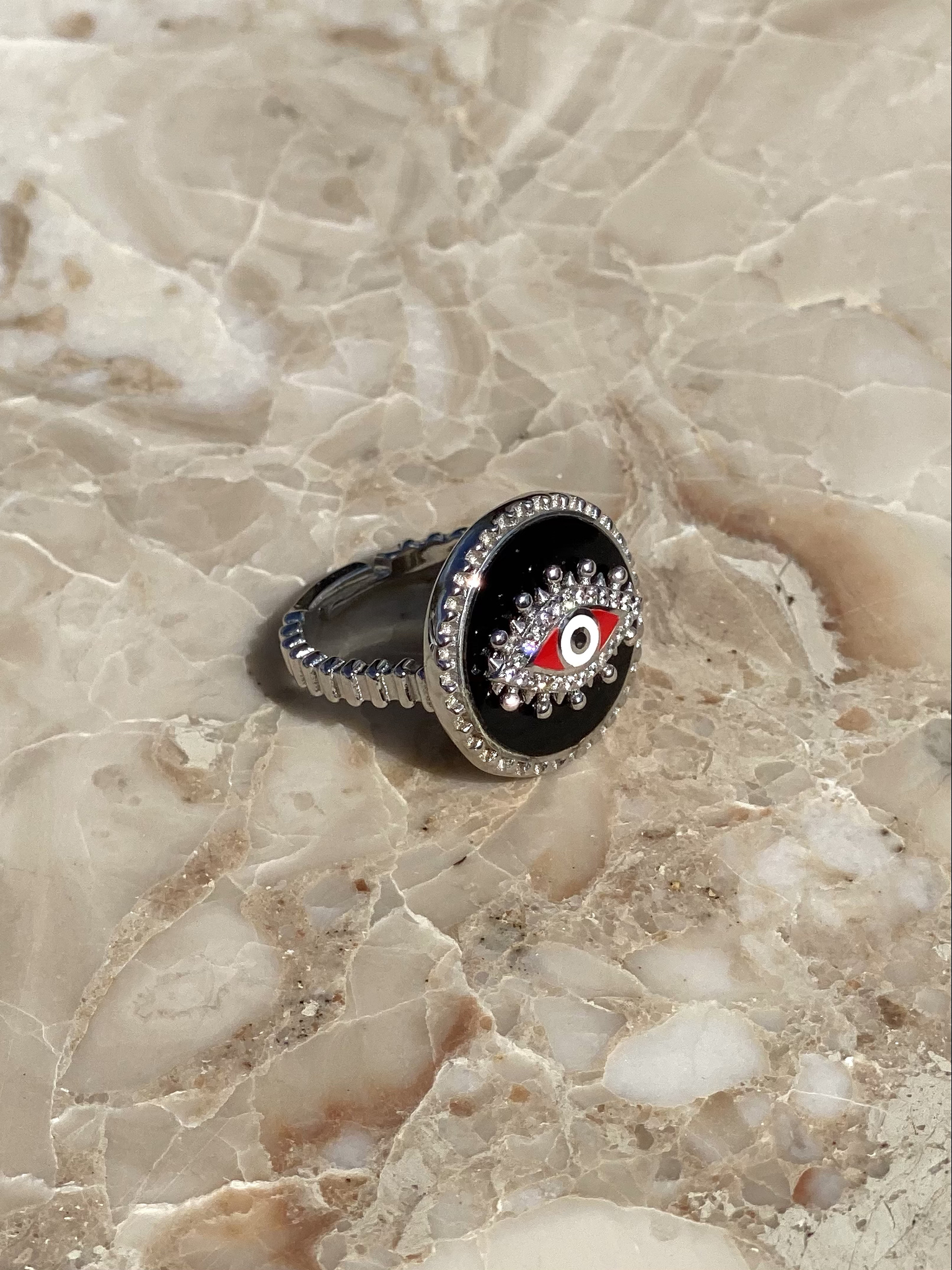 The Eye ring in silver with black and red enamel