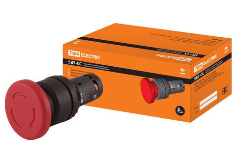Кнопка грибовидная, возврат поворотом SB7-CCS545 d35мм 1з+1р красная TDM