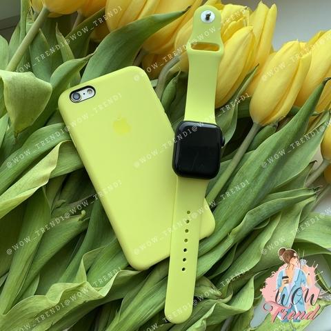 Ремешок Apple watch 42/44mm Sport Band /flash/ лимонный