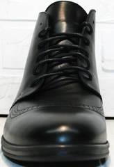 Теплые зимние мужские ботинки на шнурках Ikoc 3640-1 Black Leather.