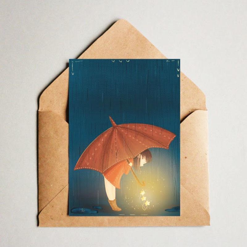 Фотография Открытка авторская почтовая «Девочка с зонтом» / 10*15 см купить в магазине Афлора